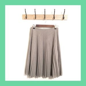 [Anne Klein] Gray Pleated Midi Skirt Size 2P